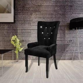 Fauteuil met houten frame fluweel zwart