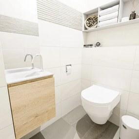 MONDIAZ OLAN Toiletmeubel 40x30x40cm met 1 kraangaten 1 lades washed oak mat Wastafel Lex links Solid Surface Wit FK75342667