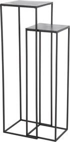 Bijzettafel BOCA - ruw Antiek-lood-mat zwart - set van 2