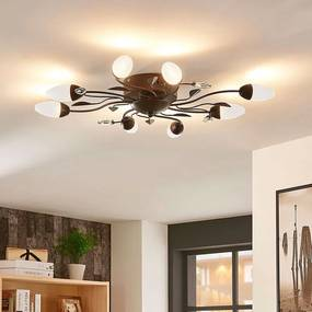 Dimbare LED plafondlamp Renato, 8 lampen, bruin