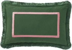 Palais | Kussen Grace Dark lengte 60 cm x breedte 40 cm donkergroen, roze sierkussens 100% biologische poplin katoen vloerkleden | NADUVI outlet