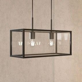 Hanglamp Beyza in lantaarnvorm, met twee lampjes