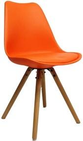 Viverne   Eetkamerstoel Bern breedte 49 cm x diepte 54 cm x hoogte 83 cm oranje eetkamerstoelen kunststof, hout, kunstleer   NADUVI outlet