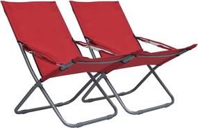 Strandstoelen 2 st inklapbaar stof rood