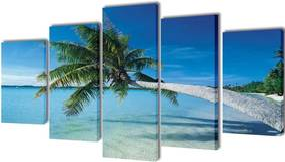 Canvasdoeken zandstrand met palmboom 200 x 100 cm