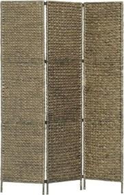 Kamerscherm met 3 panelen 116x160 cm waterhyacint bruin