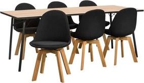 Eethoek Skara Arleta (tafel met 6 stoelen) - zwart - Leen Bakker