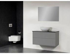 Saniclass New Future Kos waskom wit badmeubel 100cm hoogglans met spiegel grijs