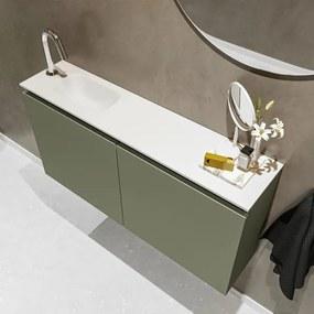 MONDIAZ TURE Toiletmeubel 100x23x50cm met 1 kraangaten 2 deuren army mat Wastafel Eden links Solid Surface Wit FK75341141
