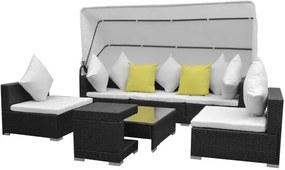 Loungeset met luifel poly rattan zwart 23-delig