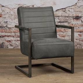 Tower Living Stoere Fauteuil Industrieel Bull Antracite Rocca