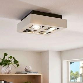 Vierhoekige LED-plafondlamp Vince in wit, 4-la