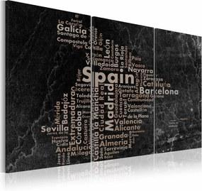 Schilderij - Spanje, Marmer Look, Zwart/Grijs, 3luik