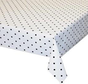 Gecoat Tafellinnen Dots Zwart op Wit
