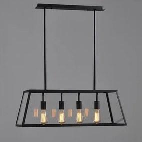 Vintage Industriële Glazen Hanglamp Zwart 4 Lampen