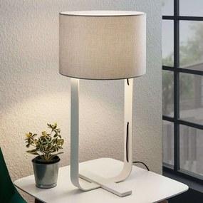 Textiel tafellamp Tarika in grijs en wit