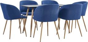 7-delige Eethoek stof blauw