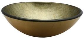 Saniclass Pesca Limone waskom 42x14,5cm rond gehard glas goud groen GS-H9368