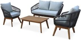Loungeset 4 plaatsen - ROSARIO - in gevlochten touw, aluminium en hout, grijs gespikkeld/grijze kussens