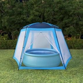Zwembadtent 500x433x250 cm stof blauw