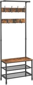 Loods 1 Garderoberek/ Kapstok met Schoenenrek - 66 x 32,5 x 183cm
