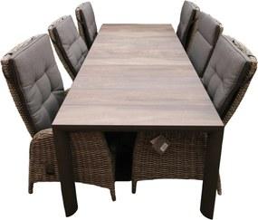 Marbella Diningset Tuinset tafel 220x100 cm met 4 stoelen