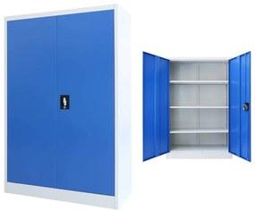 Medina Kantoorkast 90x40x140 cm metaal grijs en blauw