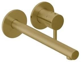 Herzbach DESIGN iX pvd wastafelkraan rechte uitloop kleurset 240 brass 19x8cm steel 21.139757.1.41