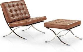 Barcelona Chair + Ottoman hocker set (replica) - Vintage brown