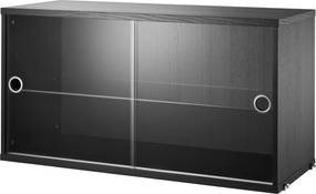 String Vitrinekast 78 x 30 x 42 cm zwart gebeitst essen