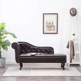 Chaise longue kunstleer donkerbruin