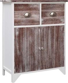 Bijzetkast 60x30x75 cm paulowniahout bruin en wit