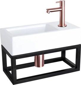 Fonteinset Differnz Ravo Rechthoek 38.5x18.5x24.5cm Keramiek Wit Handdoekrek Rechte Toiletkraan Clickwaste Sifon Geborsteld Koper