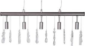 Hanglamp SILVIA crystal tube - Nikkel Satijn - 5-lichtpunten