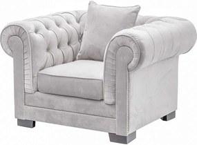Fauteuil Chesterfield Classic Velvet Light Grey 118x96x77cm