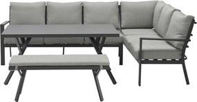 Garden Impressions Senja lounge dining set 4-delig rechts - donker grijs