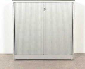 Roldeurkast, aluminium, 118 x 120 cm, incl. 2 legborden