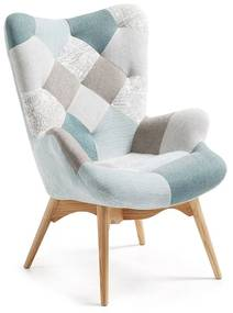 Kave Home Kody Patchwork Blauwe Fauteuil