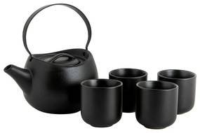 Japanse theepot met 4 kopjes - zwart - 60 cl