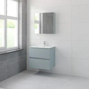 Bruynzeel Miko badmeubelset 66x71x51cm 1 kraangat 1 wasbak 2 lades met spiegelkast met softclose fjord groen 123102168