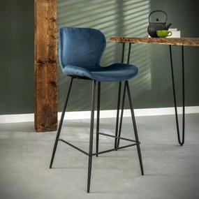 Barstoel Gael Velvet, kleur Blauw (zithoogte 67cm)