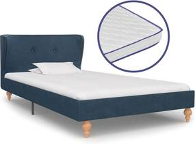 Bed met traagschuim matras stof blauw 90x200 cm