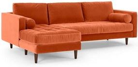 Scott 4-zitsbank met hoek links, gebrand oranje katoenfluweel