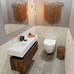 MONDIAZ ANDOR Toiletmeubel 100x30x30cm met 0 kraangaten 1 lades dark brown mat Wastafel Lex links Solid Surface Wit FK75343411