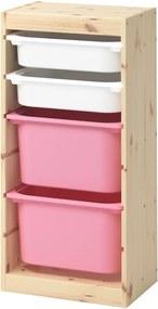TROFAST Opbergcombinatie met bakken 44x30x91 cm licht wit gebeitst grenen wit/roze