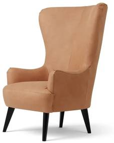 Bodil fauteuil, bruin leer