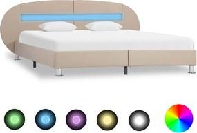 Bedframe met LED kunstleer cappuccino 160x200 cm