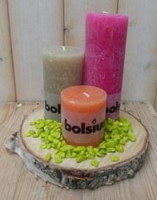 3-delige set kaarsen roze, beige en oranje