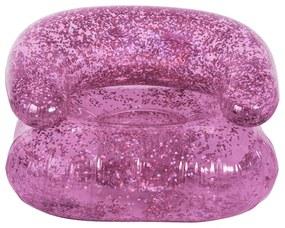 Opblaasbare kinderstoel glitter - roze