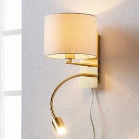 Messingkleurige wandlamp Florens met LED leeslamp